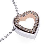 Μενταγιόν Δίδυμες Καρδιές 3 / Ασημένιο, χειροποίητο / λευκό - ροζ με συνθετικές πέτρες