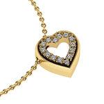 Μενταγιόν Δίδυμες καρδιές 2 / Ασημένιο, χειροποίητο / κίτρινο - κίτρινο με συνθετικές πέτρες