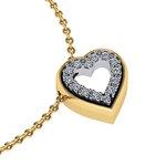 Μενταγιόν Δίδυμες καρδιές 2 / Ασημένιο, χειροποίητο / κίτρινο - λευκό με συνθετικές πέτρες