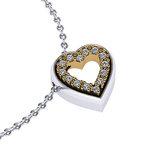 Μενταγιόν Δίδυμες καρδιές 2 / Ασημένιο, χειροποίητο / λευκό - κίτρινο με συνθετικές πέτρες