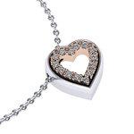 Μενταγιόν Δίδυμες καρδιές 2 / Ασημένιο, χειροποίητο / λευκό - ροζ με συνθετικές πέτρες