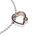 Μενταγιόν Δίδυμες καρδιές 2 / Ασημένιο, χειροποίητο / λευκό - ροζ με ένα ζιργκόν