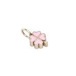 Παιδικό Μενταγιόν τετράφυλλο μικρό / Ασημένιο, χειροποίητο, ροζ επιχρυσωμένο με ροζ σμάλτο