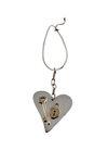 μπρελόκ - κλειδοθήκη, χειροποίητο, ασημένιο, δίχρωμο, με θέμα καρδιά - κλειδί -λουκέτο / 2ΜΡ0060