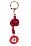 μπρελόκ - κλειδοθήκη από ορείχαλκο, ''μάτι με κόκκινο λευκό και μπλε σμάλτο'' / 2ΜΡ0063