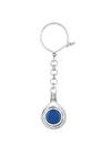 μπρελόκ - κλειδοθήκη, χειροποίητο, ασημένιο, με μπλε αχάτη / 2ΜΡ0072