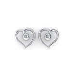 Νεανικά Μοντέρνα Σκουλαρίκια 1125 κολλητά στο αυτί - καρδιές / Ασημένια, χειροποίητα, λευκά επιπλατινωμένα