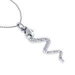 Νεανικό Μικρό Διακριτικό Μενταγιόν 1004 - φίδι / Ασημένιο, χειροποίητο, λευκό επιπλατινωμένο