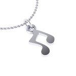 Νεανικό Μικρό Διακριτικό Μενταγιόν 1104 - μουσική νότα / Ασημένιο, χειροποίητο, λευκό επιπλατινωμένο