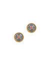 σκουλαρίκια, γυναικεία, χειροποίητα, βυζαντινής τεχνοτροπίας, με συνθετικό ρουμπίνι κοπής carée, σε ασήμι 925' / 2SK0145