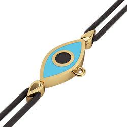 Βραχιόλι δεμένο μακραμέ με μάτι σε σχήμα ναβέττας / Ασημένιο, χειροποίητο, επιχρυσωμένο με τουεκουάζ σμάλτο