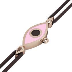 Βραχιόλι δεμένο μακραμέ με μάτι σε σχήμα ναβέττας / Ασημένιο, χειροποίητο, ροζ επιχρυσωμένο με ροζ σμάλτο
