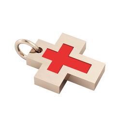 Σταυρός με εσωτερικό σταυρό / Ασημένιος, χειροποίητος, ροζ επιχρυσωμένος με κόκκινο σμάλτο