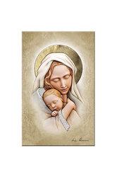 εικόνα Παναγία Βρεφοκρατούσα, ανάγλυφη, ζωγραφισμένη σε ξύλο, με ασήμι / 2ΕΙ0190