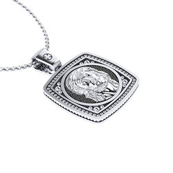 Χριστιανικό Τετράγωνο Μενταγιόν Διπλής Όψης 1.07  με τον Ιησού Χριστό / Ασημένιο, χειροποίητο, δίχρωμο, λευκό μαύρο με πατίνα