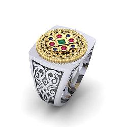 Αρχαϊκό Δαχτυλίδι Σεβαλιέ 7 / Ασημένιο, χειροποίητο, δίχρωμο, λευκό κίτρινο, με ανθέμιο και χρωματιστές συνθετικές πέτρες