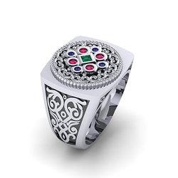 Αρχαϊκό Δαχτυλίδι Σεβαλιέ 7 / Ασημένιο, χειροποίητο, δίχρωμο, λευκό μαύρο, με ανθέμιο και χρωματιστές συνθετικές πέτρες