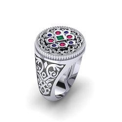 Αρχαϊκό Δαχτυλίδι Σεβαλιέ 16 / Ασημένιο, χειροποίητο, δίχρωμο, λευκό μαύρο, με ροζέτα ανθέμιο και χρωματιστές συνθετικές πέτρες