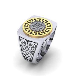 Αρχαϊκό Δαχτυλίδι σεβαλιέ 5 / Ασημένιο, χειροποίητο, δίχρωμο, λευκό κίτρινο, με μαίανδρο και συνθετικές πέτρες