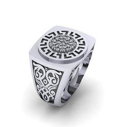 Αρχαϊκό Δαχτυλίδι σεβαλιέ 5 / Ασημένιο, χειροποίητο, δίχρωμο, λευκό μαύρο, με μαίανδρο και συνθετικές πέτρες