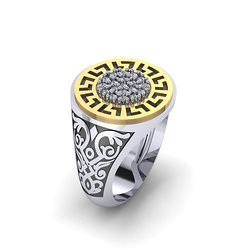 Αρχαϊκό Δαχτυλίδι Σεβαλιέ 14 / Ασημένιο, χειροποίητο, δίχρωμο, λευκό κίτρινο, με μαίανδρο και συνθετικές πέτρες