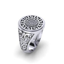 Αρχαϊκό Δαχτυλίδι Σεβαλιέ 14 / Ασημένιο, χειροποίητο, δίχρωμο, λευκό μαύρο, με μαίανδρο και συνθετικές πέτρες