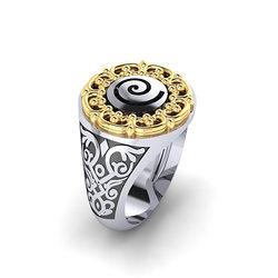 Αρχαϊκό Δαχτυλίδι Σεβαλιέ 12 / Ασημένιο, χειροποίητο, δίχρωμο, λευκό κίτρινο, με ένθετη σπείρα