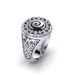 Αρχαϊκό Δαχτυλίδι Σεβαλιέ 12 / Ασημένιο, χειροποίητο, δίχρωμο, λευκό μαύρο, με ένθετη σπείρα