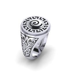 Αρχαϊκό Δαχτυλίδι Σεβαλιέ 15 / Ασημένιο, χειροποίητο, δίχρωμο, λευκό μαύρο, με μαίανδρο και ένθετη σπείρα