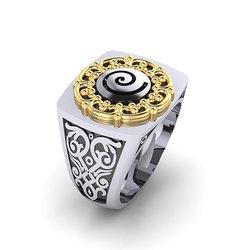Αρχαϊκό Δαχτυλίδι Σεβαλιέ 3 / Ασημένιο, χειροποίητο, δίχρωμο, λευκό κίτρινο, με  ένθετη σπείρα