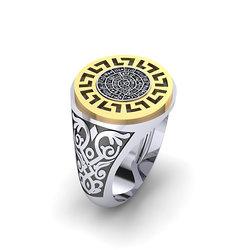 Αρχαϊκό Δαχτυλίδι σεβαλιέ 13 / Ασημένιο, χειροποίητο, δίχρωμο, λευκό κίτρινο, με Μαίανδρο και ένθετο το Δίσκο τής Φαιστού