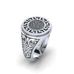 Αρχαϊκό Δαχτυλίδι σεβαλιέ 13 / Ασημένιο, χειροποίητο, δίχρωμο, λευκό μαύρο, με Μαίανδρο και ένθετο το Δίσκο τής Φαιστού
