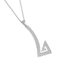 Αρχαϊκό Μενταγιόν 1026 σε σχήμα μαιάνδρου / Ασημένιο, χειροποίητο, λευκό επαργυρωμένο με σφυρήλατη επιφάνεια