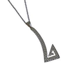 Αρχαϊκό Μενταγιόν 1026 σε σχήμα μαιάνδρου / Ασημένιο, χειροποίητο, μαύρο επιροδιωμένο με σφυρήλατη επιφάνεια