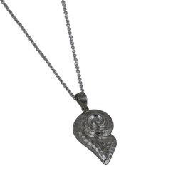 Αρχαϊκό Μενταγιόν 1028 σε σχήμα κοχυλιού - σπείρας / Ασημένιο, χειροποίητο, μαύρο επιροδιωμένο με σφυρήλατη επιφάνεια