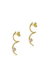 Κρεμαστά Σκουλαρίκια Α548 / Ασημένια, χειροποίητα, επιχρυσωμένα με μαργαριτάρια