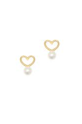 γυναικεία σκουλαρίκια, σε σχήμα καρδιάς, με μαργαριτάρια, χειροποίητα, σε ασήμι 925' επιχρυσωμένα / 2SK0233