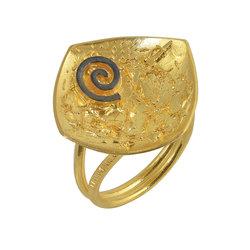 Αρχαϊκό Δαχτυλίδι Ρόμβος 717 με ένθετη σπείρα / Ασημένιο, χειροποίητο, δίχρωμο