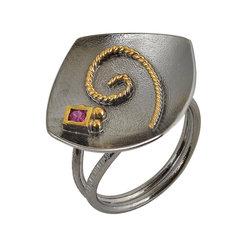 Αρχαϊκό Δαχτυλίδι Ρόμβος 718 με ένθετη σπείρα και συνθετικό ρουμπίνι / Ασημένιο, χειροποίητο, δίχρωμο