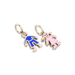 Μενταγιόν Αγοράκι Κοριτσάκι / Ασημένιο, χειροποίητο,  ροζ επιχρυσωμένο με μπλε & ροζ σμάλτο