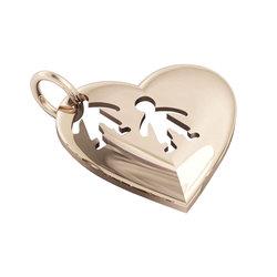 Μενταγιόν Καρδιά δύο Αγοράκια / Ασημένιο, χειροποίητο, ροζ επιχρυσωμένο