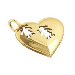 Μενταγιόν Καρδιά δύο Κοριτσάκια / Ασημένιο, χειροποίητο, επιχρυσωμένο