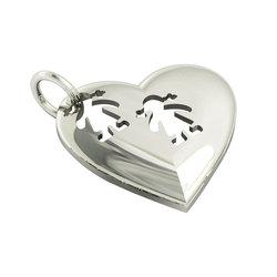 Μενταγιόν Καρδιά με δύο κοριτσάκια / Ασημένιο, χειροποίητο, επιπλατινωμένο