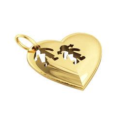 Μενταγιόν Καρδιά Αγοράκι Κοριτσάκι / Ασημένιο, χειροποίητο, επιχρυσωμένο