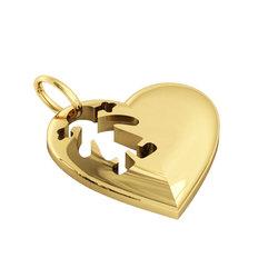 Μενταγιόν Καρδιά Κοριτσάκι / Ασημένιο, χειροποίητο, επιχρυσωμένο