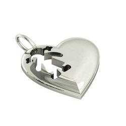 Μενταγιόν Καρδιά Κοριτσάκι / Ασημένιο, χειροποίητο, επιπλατινωμένο