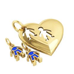 Μενταγιόν Καρδιά με δύο αγοράκια / Ασημένιο, χειροποίητο, επιχρυσωμένο με μπλε σμάλτο