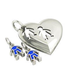 Μενταγιόν Καρδιά με δύο Αγοράκια / Ασημένιο, χειροποίητο, επιπλατινωμένο με μπλε σμάλτο