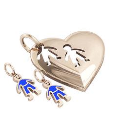 Μενταγιόν Καρδιά με δύο αγοράκια / Ασημένιο, χειροποίητο, ροζ επιχρυσωμένο με μπλε σμάλτο
