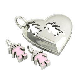 Μενταγιόν Καρδιά με δύο Κοριτσάκια / Ασημένιο, χειροποίητο,  επιπλατινωμένο με ροζ σμάλτο